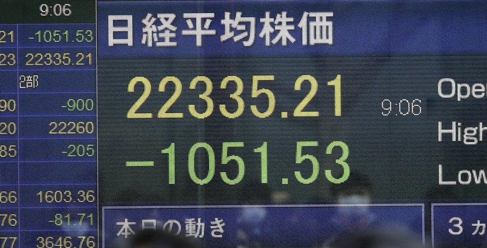 Börserna faller kraftigt – Stockholmsbörsen sjönk 5,5 procent