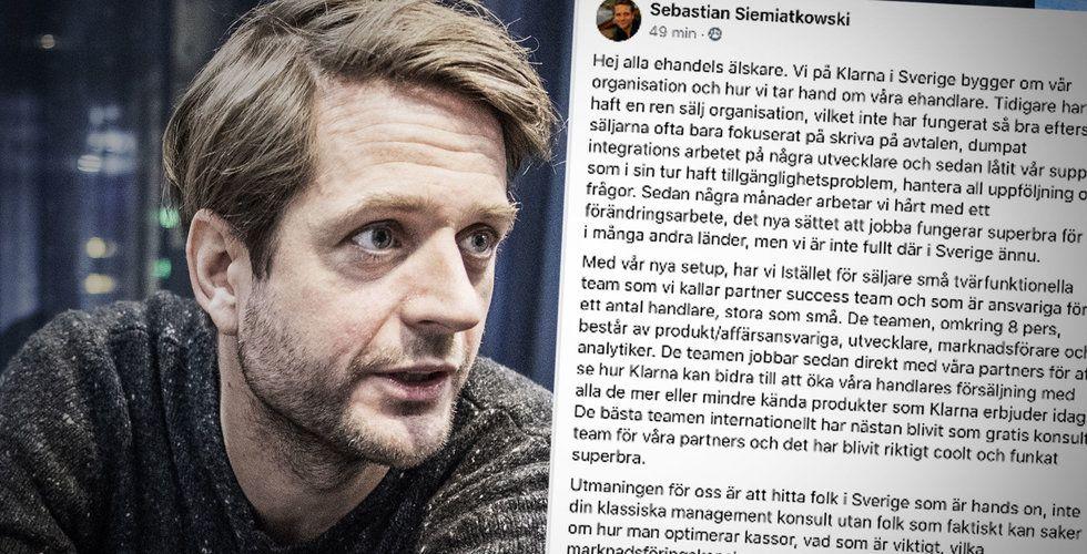 Klarna-chefen: Vi river upp hela vår svenska säljorganisation