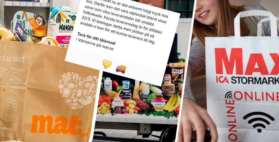 """Långa leveranstider för mat på nätet på grund av coronakrisen – """"Extremt högt tryck"""""""