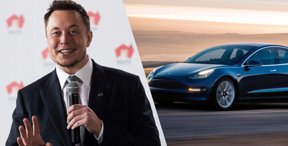 Teslas aktie rusade inatt – vände till vinst