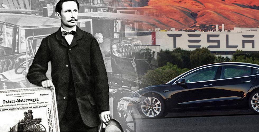 Historiskt skifte – Tesla gasar förbi bilens uppfinnare i USA