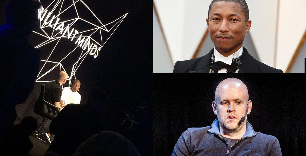 """Daniel Ek frågade ut världsstjärnan Pharrell Williams på scen: """"Det är blodspengar"""""""