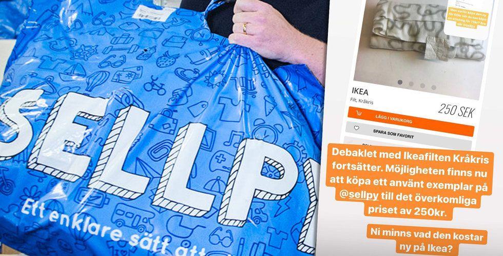 Sellpy-annonser väcker uppmärksamhet: Ikea-filten blev 2400 procent dyrare