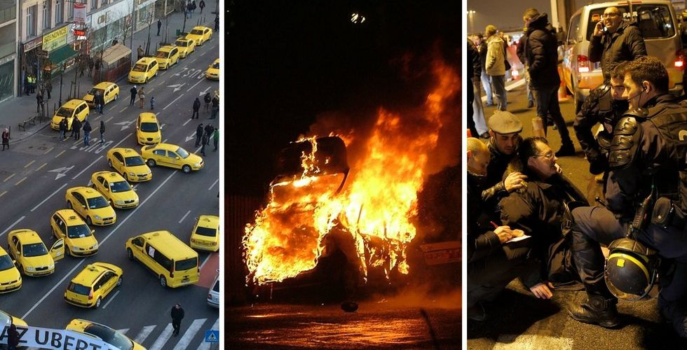 Franska taxichaufförer sätter eld på gatorna - i protest mot Uber