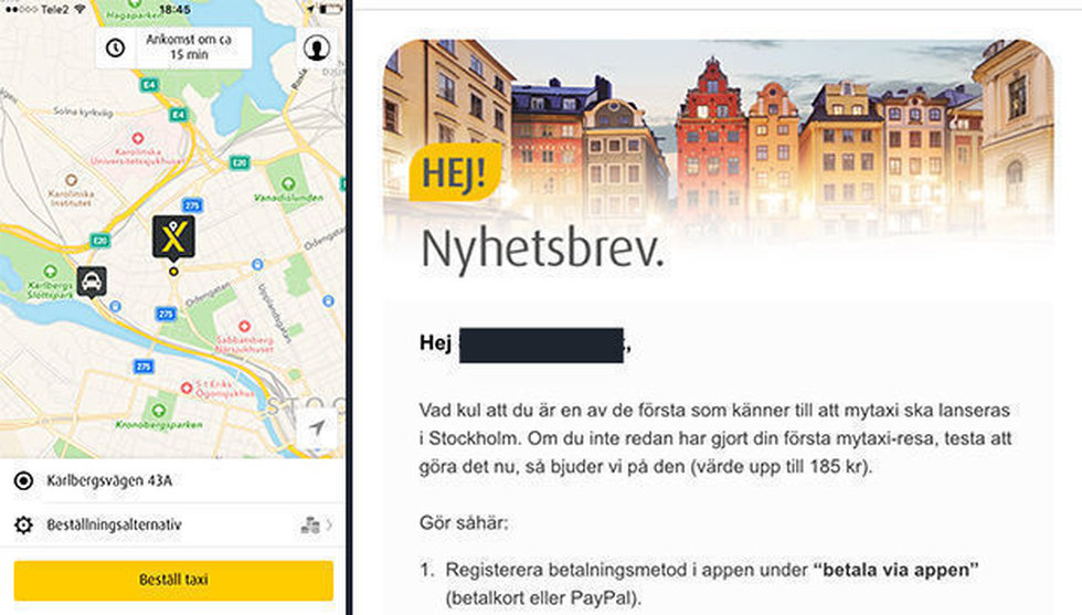 Daimler-ägda Mytaxi har lanserats i Stockholm