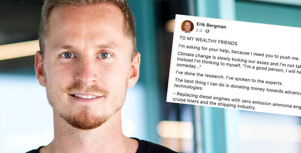 Erik Bergman uppmanar techmiljonärerna att donera – och dubblar allt (men alla gillar inte det)