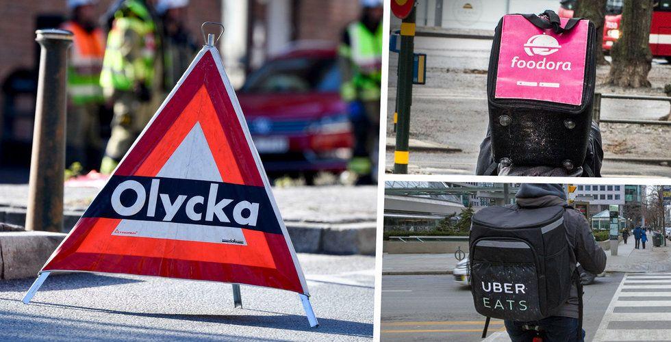 Varannan dag skadas ett cykelbud – 138 olyckor hos Foodora bara i år
