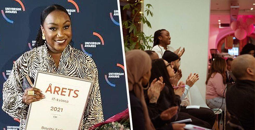 Binette Seck är Årets IT-kvinna. Foto: Privat/changershub.se/Montage