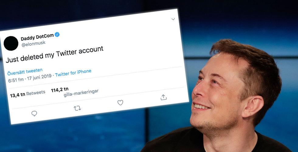 Musk säger sig ha tagit bort sitt Twitter-konto