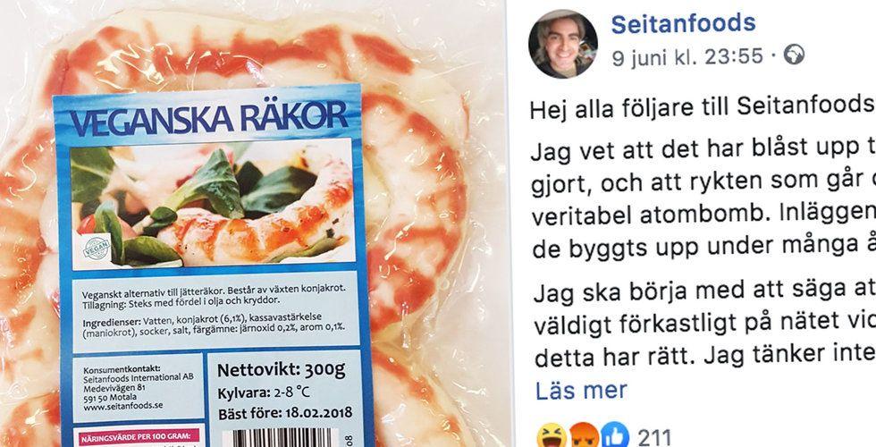"""Snabbväxande vego-bolaget Seitanfoods lägger ner efter skandal: """"Trött på hela skiten"""""""