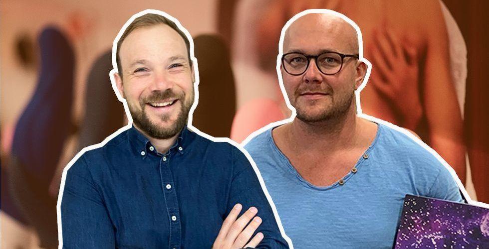 Carl-Magnus Öhrstedt, marknadschef för Purefun Group som står bakom sajten Vuxen.se, och Joakim Karlsson, vd för Lastbryggan. Foto: Pressbild/TT/Montage