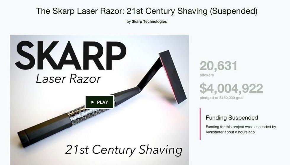 Laserhyveln Skarp diskad - blir av med alla Kickstarterpengar