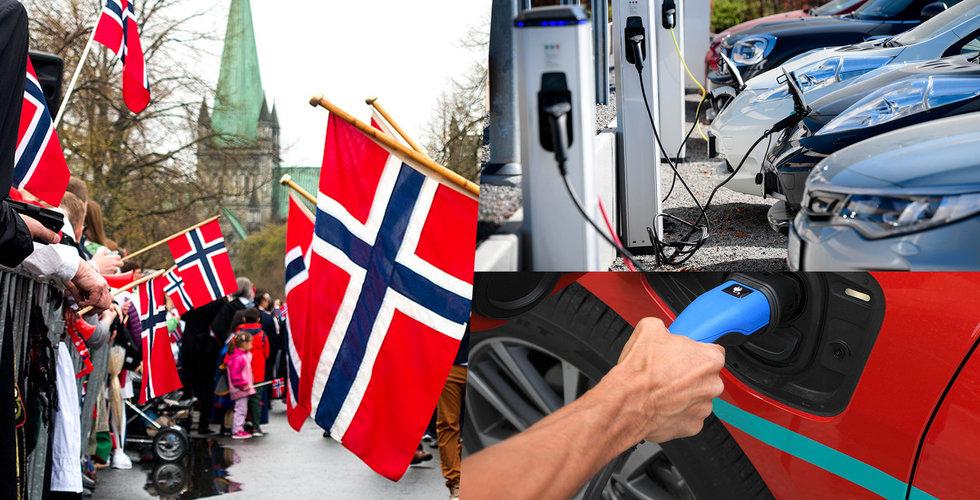 Nästan var tredje såld bil i Norge var en elbil under 2018