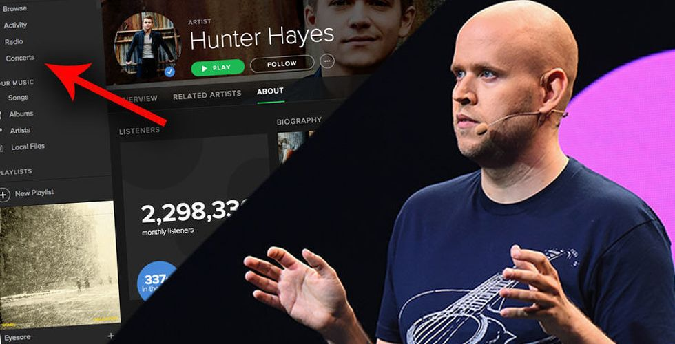 Breakit - Konsertbiljetter i appen – ny bild avslöjar Spotifys framtidsplaner