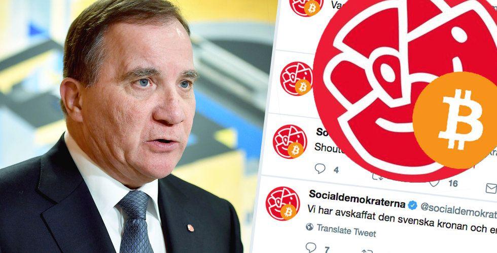 """Socialdemokraternas Twitter-konto kapat – förvandlades till """"Bitcoindemokraterna"""""""