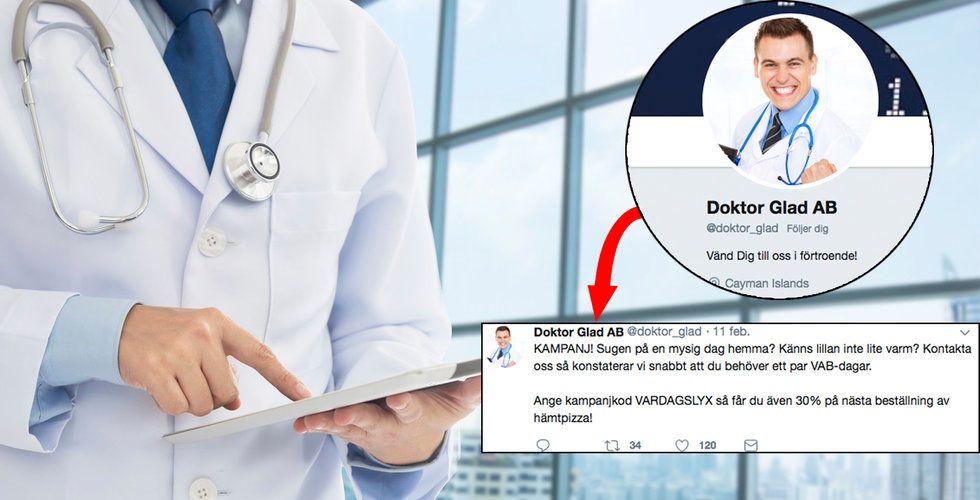 Doktor Glad svingar mot nätläkarna i satirkonto på Twitter