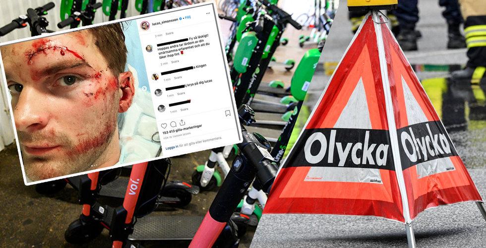 "Influencern Lucas Simonsson om elsparkcykelolyckan: ""Allt blev svart"""