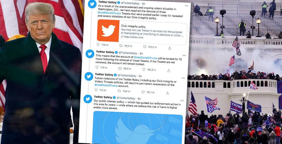Twitter och Facebook fryser Trumps konton – flera personer döda i kaos i Washington