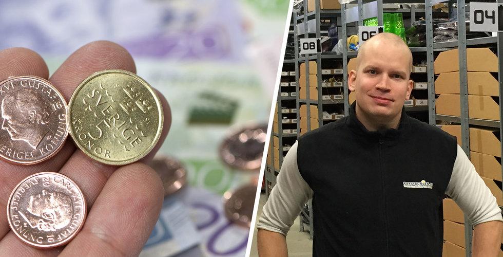 """Rekordsvag krona påverkar e-handlarna """"Har fått justera upp priserna"""""""