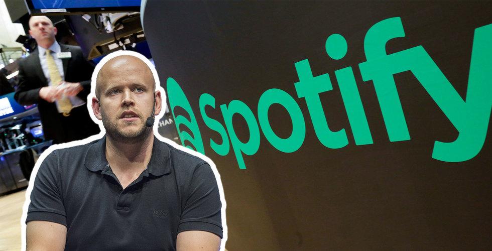 Spotify värderas till 222 miljarder efter första börsdagen
