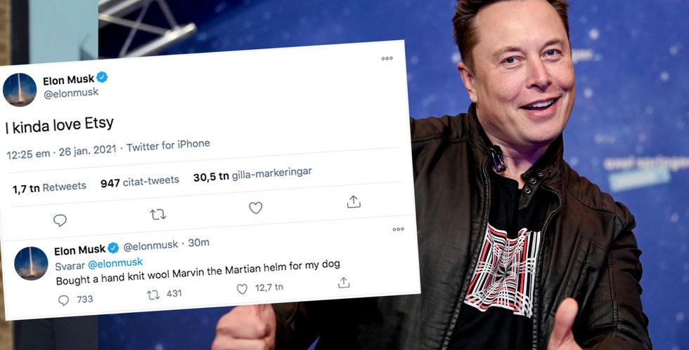 Etsy stiger i förhandeln efter uppskattande tweet av Elon Musk