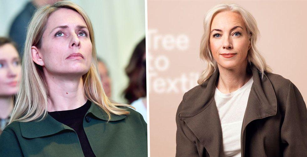 H&M:s vd Helena Helmersson och Treetotextiles vd Sigrid Barnekow.