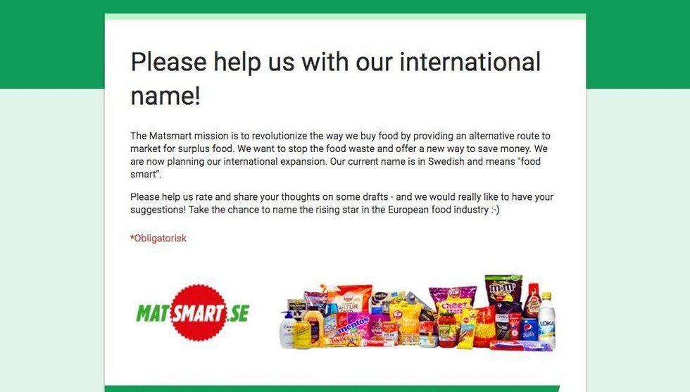 Matsmart letar nytt globalt namn - vill ha hjälp av allmänheten