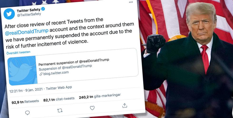 """Trump utkastad från Twitter: """"Risk för uppmaningar till våld"""""""