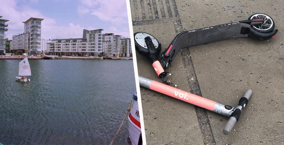 Dykare skulle städa hamnen – hittade 23 elsparkcyklar på botten