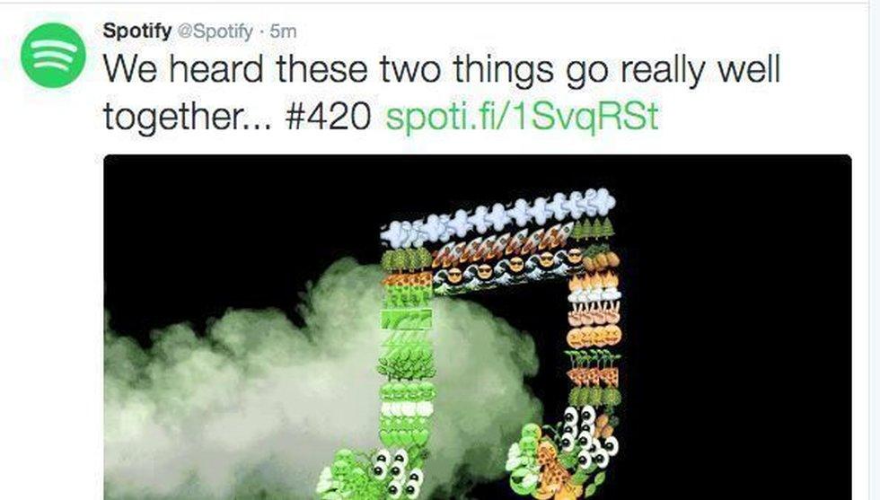 Breakit - Cannabis-tweets från Spotifys Twitter-konto under onsdagen