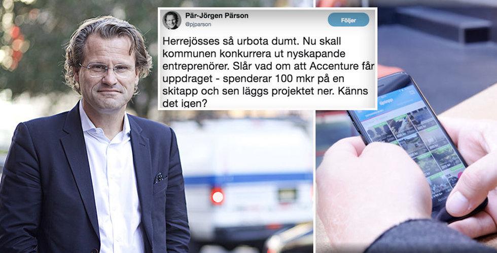 """Pär-Jörgen Pärson om stadens Tiptapp-kopia: """"Så urbota dumt"""""""
