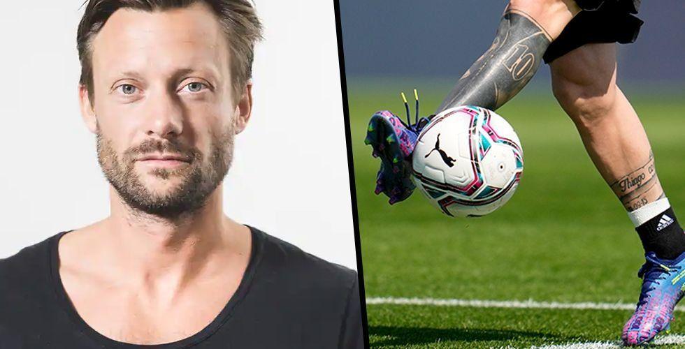 Andreas Thorstensson ska blanda fotboll och NFT:er i nytt spel. Foto: Arkiv/TT/Montage