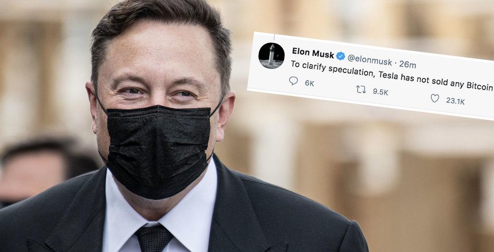 Elon Musk twittrar igen: Tesla har inte sålt bitcoin
