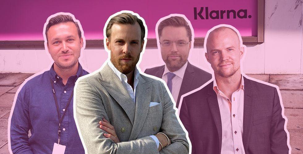 Joakim Lundberg, Mattias Ekman, Niklas Gillström och Knut Frängsmyr har alla lämnat Klarna. Foto: Arkiv/Press/TT/Montage
