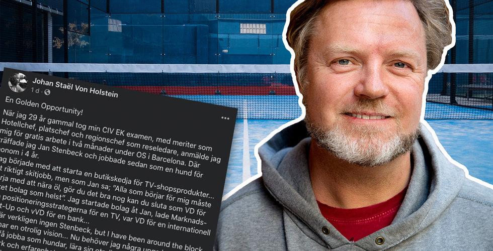 "Johan Staël von Holstein hakar på padel-trenden – ""De ska få jobba som hundar"""