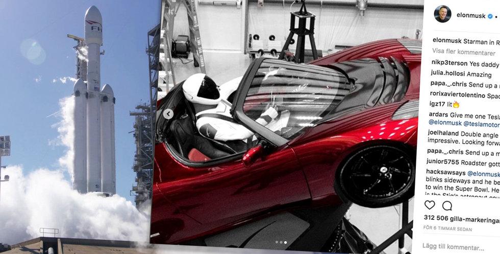 Musks nya monsterraket till rymden – med en Tesla i lasten