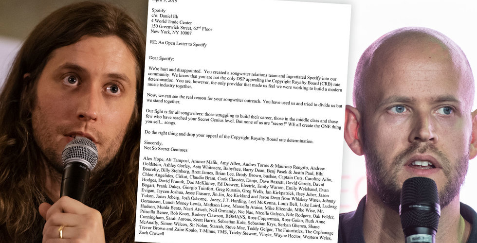 """Låtskrivarnas arga brev till Spotify: """"Ni har utnyttjat oss"""""""