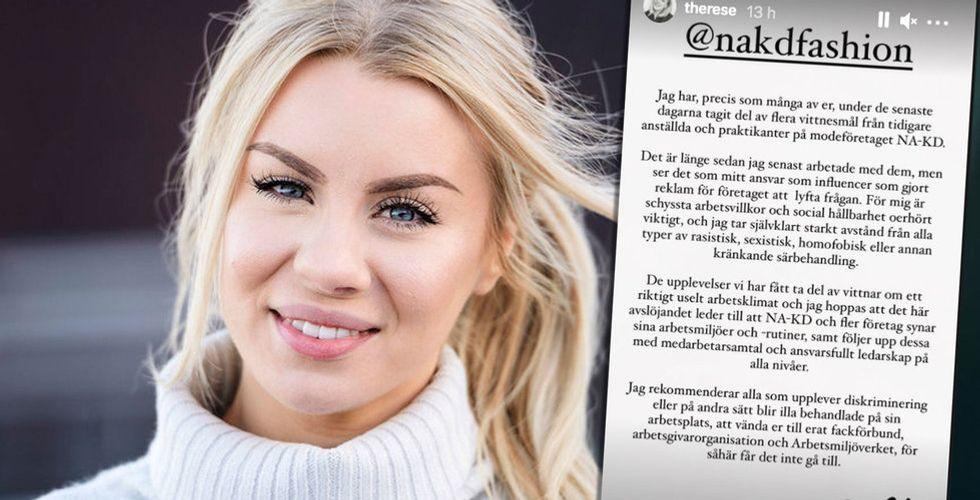 """Therese Lindgren om upproret mot Nakd: """"Tar självklart starkt avstånd"""""""