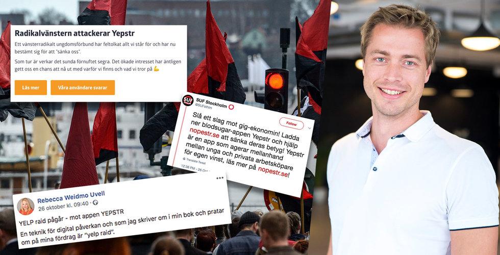 """Vänstergrupp till attack mot gig-appen Yepstr – """"Hjälp oss knäcka den"""""""