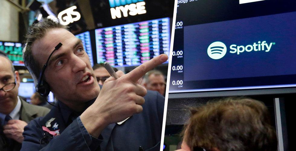 Svajigt för Spotify under andra handelsdagen