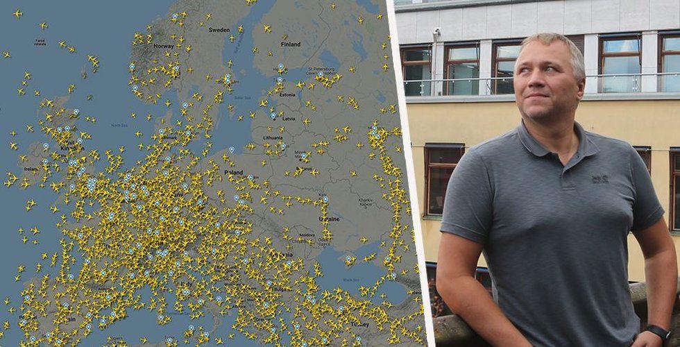 Mikael Robertsson, medgrundare av flygspårningstjänsten Flightradar24. Foto: Flightradar24/Breakit/Montage