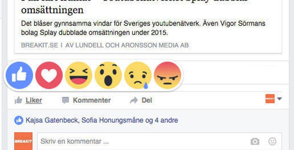 Breakit - Facebook om nya gillaknappen: Folk vill ha fler sätt att reagera