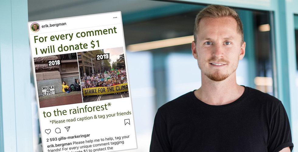 """Erik Bergman vill skänka 10 miljoner till regnskogen: """"Har mer än jag behöver"""""""
