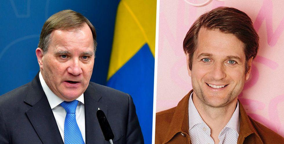 Statsminister Stefan Löfven och Klarnas vd Sebastian Siemiatkowski.