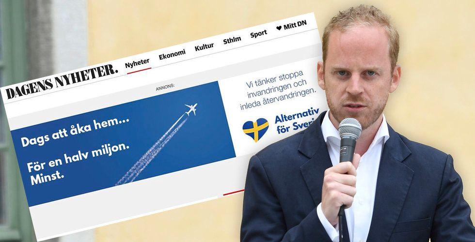Högerradikala Alternativ för Sverige dök upp på flera nyhetssajter – fick in otillåten annons