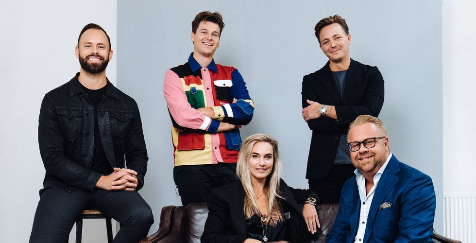 Övre rad: Christoffer Bergmann, COO CUBE / Rasmus Kolbe, Creative Director CUBE / Olof Lindblom, Group CEO CUBE   Nedre rad: Pernille Lotus, CEO CUBE DK / Claes Persson, CEO Gigger Group