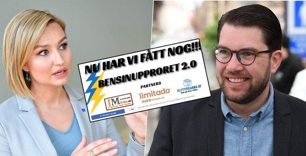 Svenskarna rasar i Bensinupproret – då slår politikerna mynt av Facebook